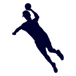 Jumping male handball player people silhouette