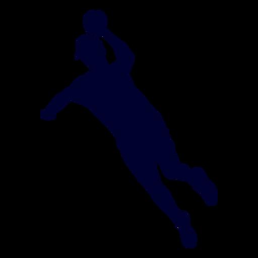 Jumping male handball player people silhouette