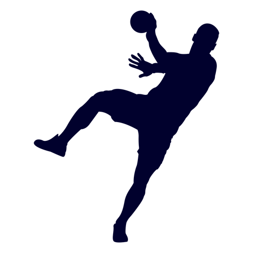 Jumping man handball player people silhouette