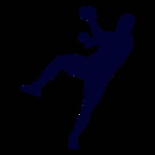 Silhueta de pessoas jogador de handebol saltando