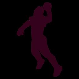 Springende Frau Handballspieler Menschen Silhouette