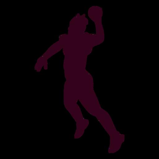 Jumping woman handball player people silhouette