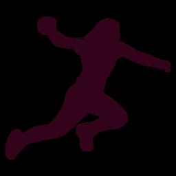Saltar silueta de balonmano mujer