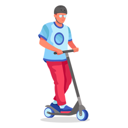 Kick scooter flat character