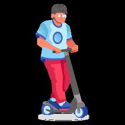 Kick scooter personaje plano
