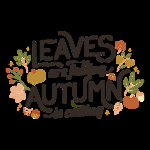 Folhas caindo letras