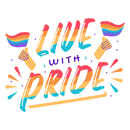 Live with pride lettering Transparent PNG