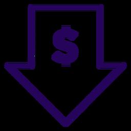 Icono de trazo de precio bajo