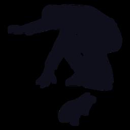 Silhueta de salto de skatista masculino