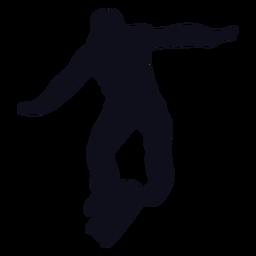 Silueta de salto de patinaje de hombre