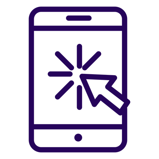 Online click cellphone stroke icon Transparent PNG
