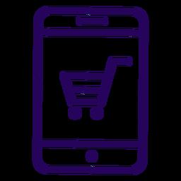 Ícone de traço de celular de compras online