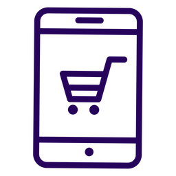 Online shopping cellphone stroke icon