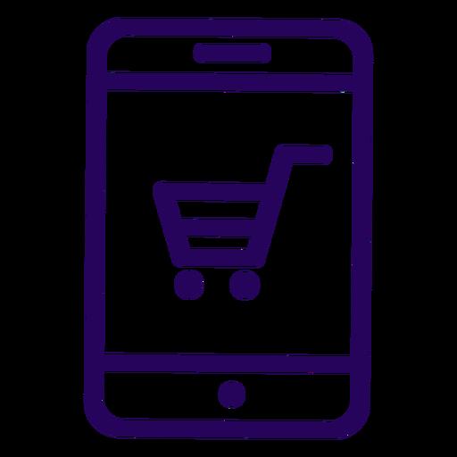 Online shopping cellphone stroke icon