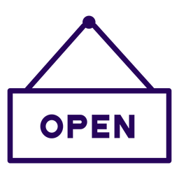 Icono de trazo de signo abierto