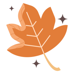 Orange maple leaf flat