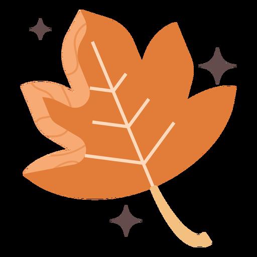 Hoja de arce naranja plana Transparent PNG