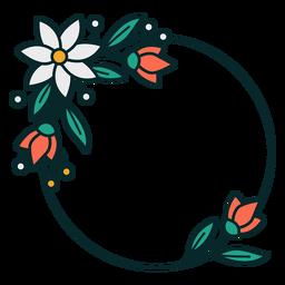 Adorno círculo marco floral