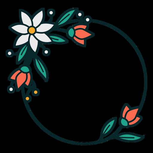 Adorno círculo marco floral Transparent PNG