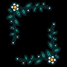 Moldura retangular de ornamento floral