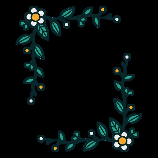 Adorno floral marco rectogular Transparent PNG