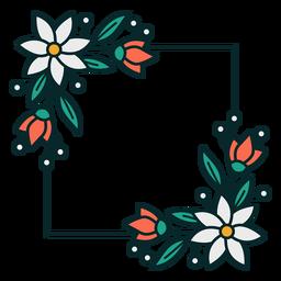 Moldura quadrada floral ornamento