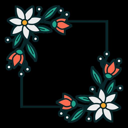 Adorno floral marco cuadrado Transparent PNG
