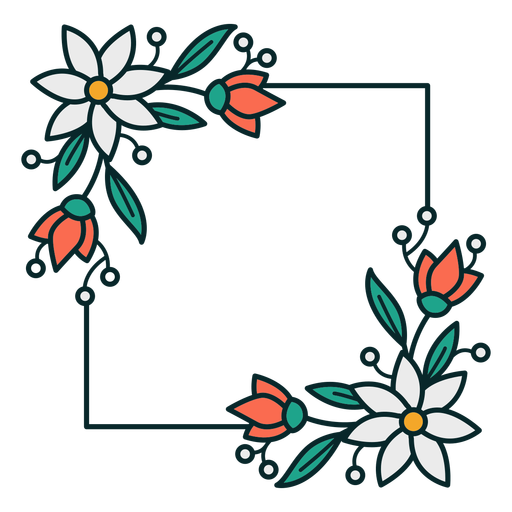 Ornament floral square frame Transparent PNG