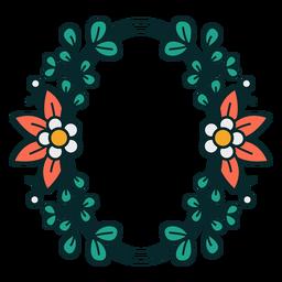Adorno marco floral ovalado