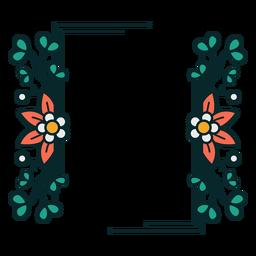 Marco floral de adorno rectangular