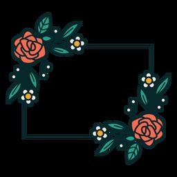 Adorno marco floral rectangular