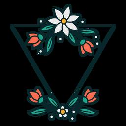 Quadro floral triangular de ornamento