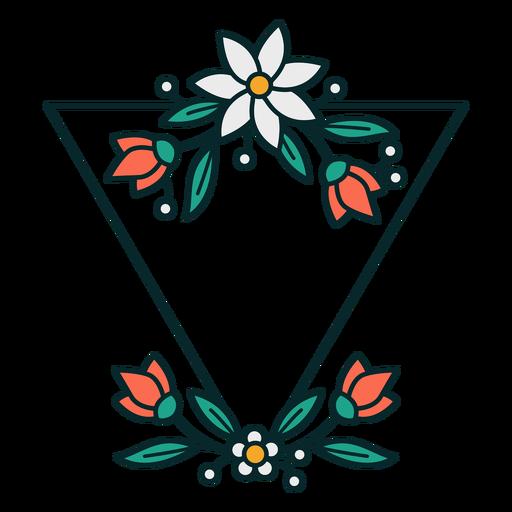 Adorno marco floral triangular