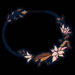 Ornament vertical oval floral frame