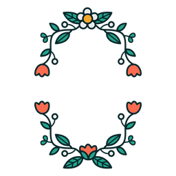 Moldura floral retangular ornamental