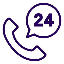 Phone 24 hours stroke icon
