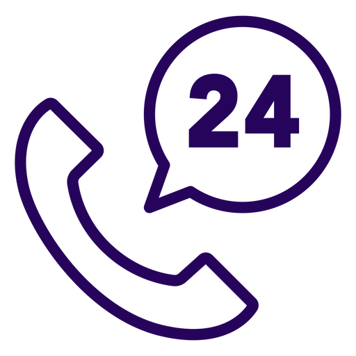 Phone 24 hours stroke icon Transparent PNG