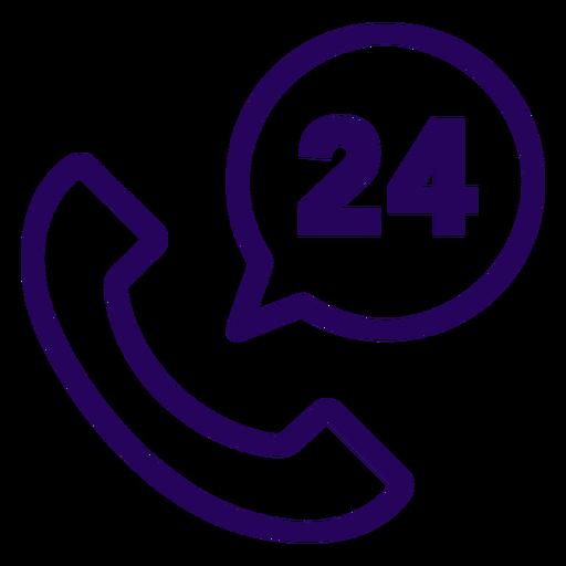 Phone 24 hours stroke icon