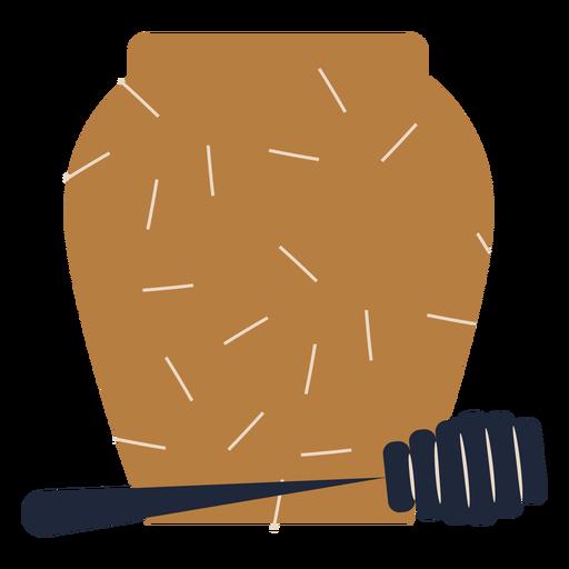 Rosh hashaná tarro de miel plano