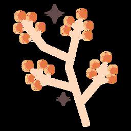 Shiny flower buds branch flat