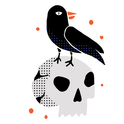 Brilhante crânio corvo plano