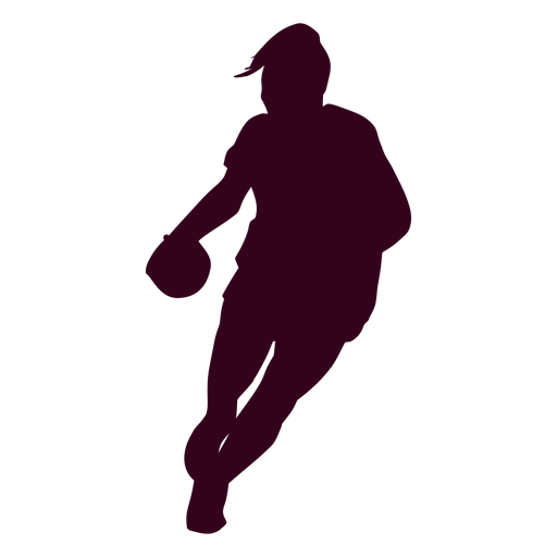 Silhouette female handball player