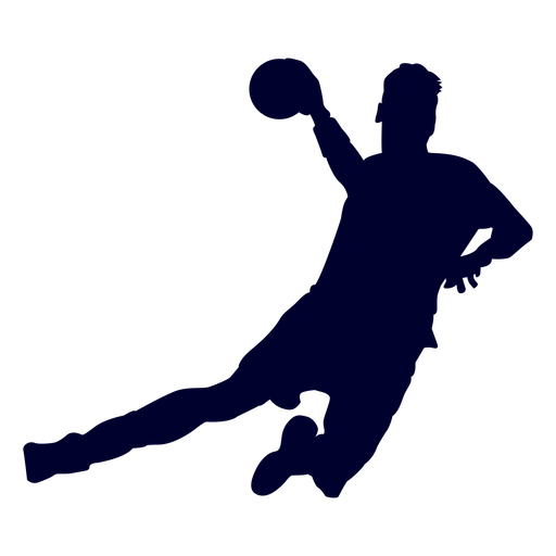 Jugador de balonmano de salto chico silueta
