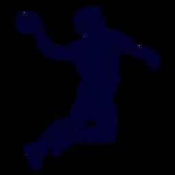 Jugador de balonmano masculino de salto de silueta
