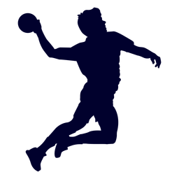 Silhouette jumping male handball player