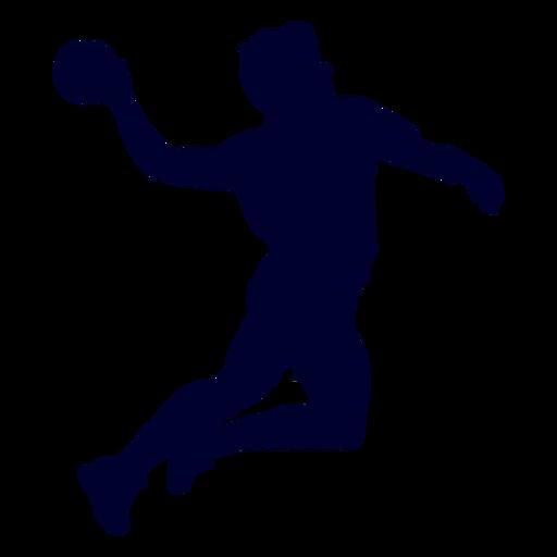 Silhouette jumping male handball player