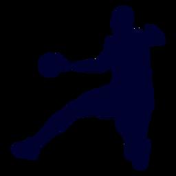Jugador de balonmano hombre saltando silueta