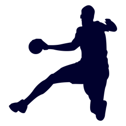 Silhouette jumping man handball player