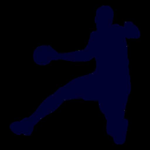 Silhouette jumping man handball player
