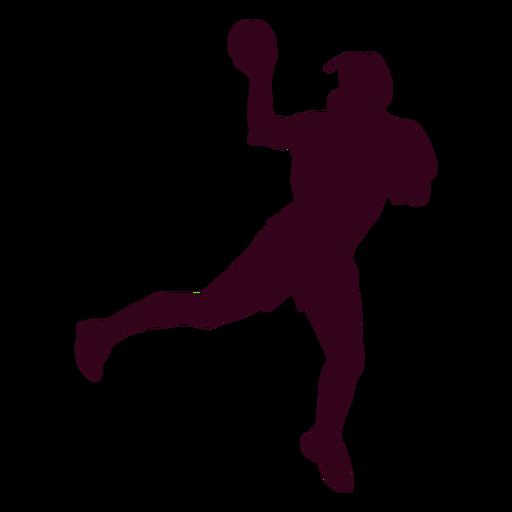 Jugador de balonmano de mujer salto silueta